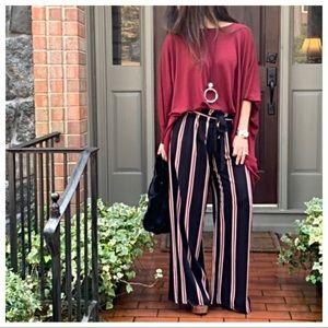 Pants - Black striped wide leg belted pants